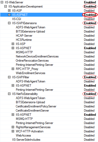 IIS-ASPNET in System Image Manager